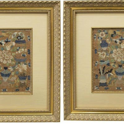 (2) CHINESE EMBROIDERED SILK TEXTILE FRAGMENTS