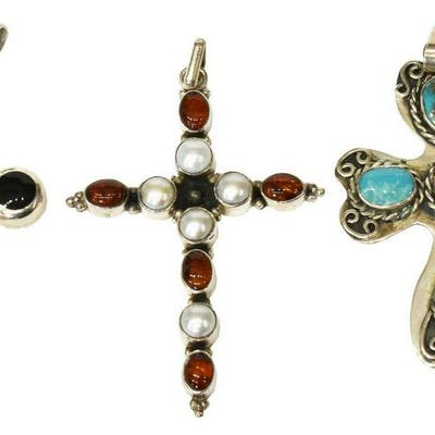 3) ESTATE SOUTHWEST STERLING, STONE CROSS PENDANTS