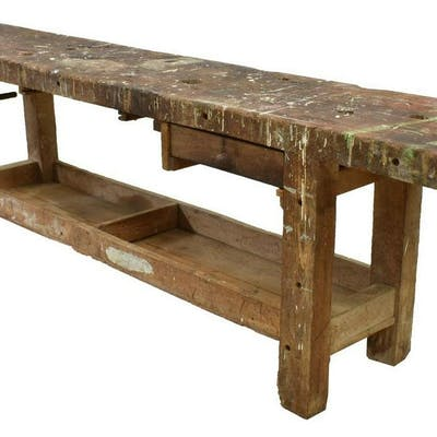 PRIMITIVE FRENCH CRAFTAMAN'S WORK BENCH TABLE