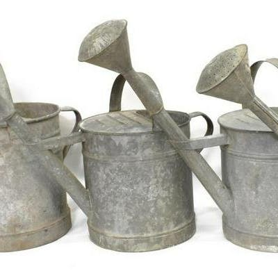 (4) LARGE VINTAGE GALVANIZED WATERING CANS
