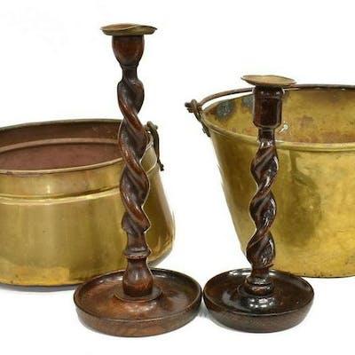 (6) BRASS JELLY PANS & ENGLISH WOOD CANDLESTICKS