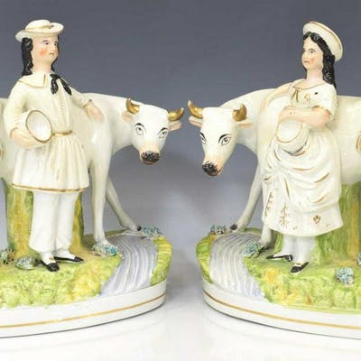 (2) ENGLISH STAFFORDSHIRE FIGURES W/ COWS