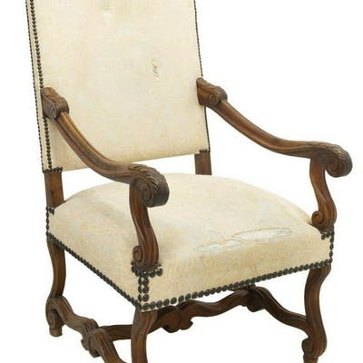 FRENCH LOUIS XIV STYLE HIGHBACK FAUTEUIL
