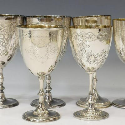 (6) ENGLISH SHEFFIELD SILVERPLATE GOBLETS, VARIED
