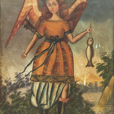 RELIGIOUS OIL PAINTING, ARCHANGEL RAPHAEL