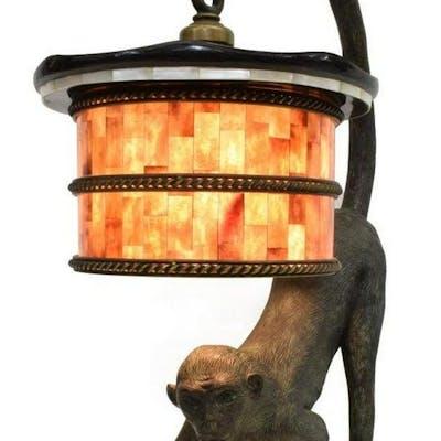 MAITLAND-SMITH BRONZE MONKEY FIGURAL TABLE LAMP