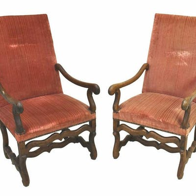 (2) LOUIS XIV STYLE WALNUT HIGHBACK ARMCHAIRS