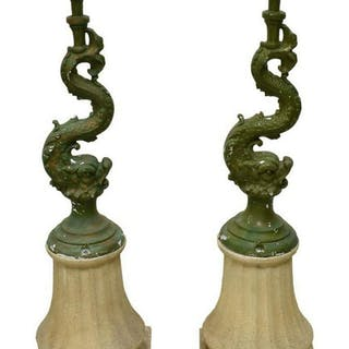 (PR) FRENCH PAINTED CAST METAL LAMPS ON BASES