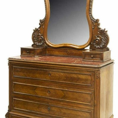 FRENCH LOUIS XV STYLE MIRRORED MARBLE-TOP COMMODE