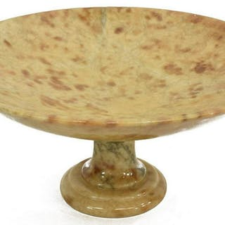 LARGE ITALIAN HAND-CARVED ALABASTER BOWL TAZZA
