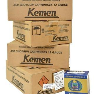(4) CASES KEMEN 12 GAUGE SHOT GUN SHELLS #7.5 & 8