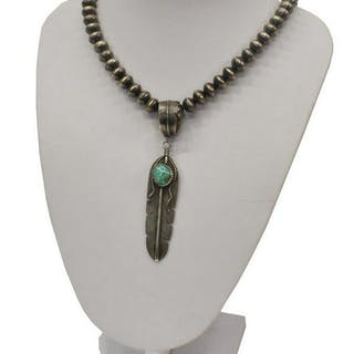 NATIVE AMERICAN SILVER & INSET TURQUOISE NECKLACE