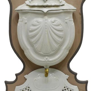 FRENCH PAINTED CAST IRON SHELL LAVABO WOOD BASE