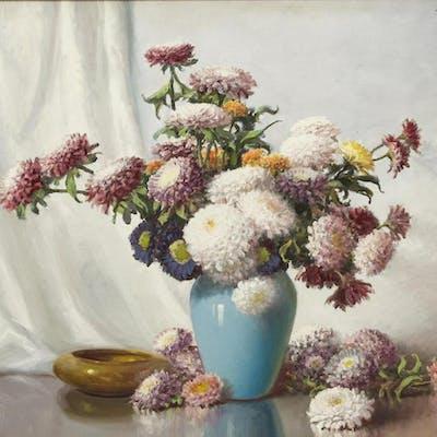 """A.D. GREER (1904-1998) FLOWERS IN VASE, 24"""" x 30"""""""