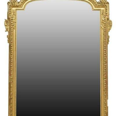 LARGE FRENCH LOUIS XVI STYLE GILTWOOD MIRROR