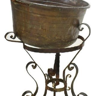 LARGE COPPER CAULDRON PLANTER ON IRON STAND