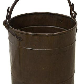 LARGE COPPER BUCKET PLANTER W/ IRON HANDLE
