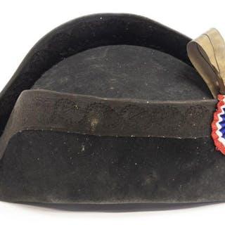 ANTIQUE FRENCH BICORN HAT, COCKADE, ORIGINAL BOX