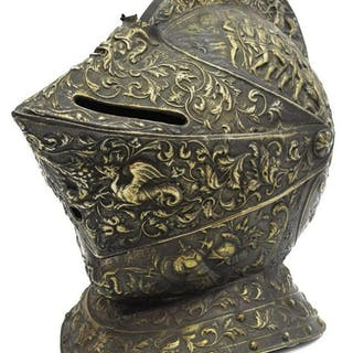 DECORATIVE SILVER-TONE METAL KNIGHT'S CLOSE HELM