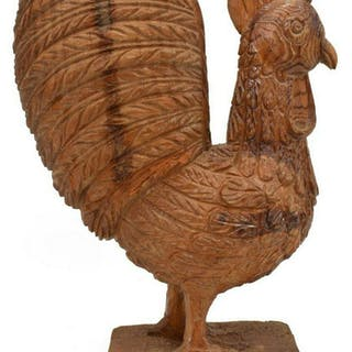 AMERICAN FOLK ART CARVED PINE ROOSTER