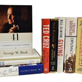 (9) SIGNED BOOKS, BUSH, JOHNSON, CLINTON, MORE
