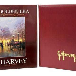 (2) AUTOGRAPHED ARTIST BOOKS: G. HARVEY