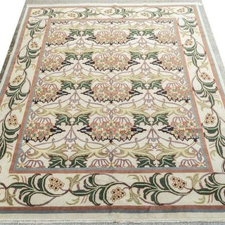 """HAND-TIED INDIAN DONEGAL RUG, 13'8"""" X 9'11"""""""