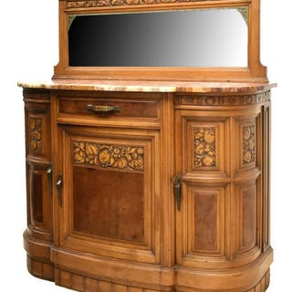 FRENCH ART DECO MIRRORED MARBLE-TOP WALNUT SERVER