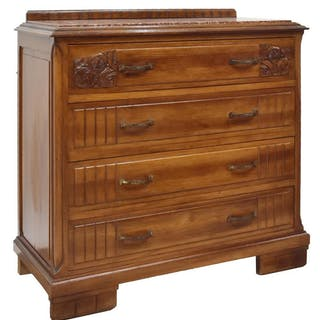 FRENCH ART DECO MARBLE-TOP WALNUT COMMODE