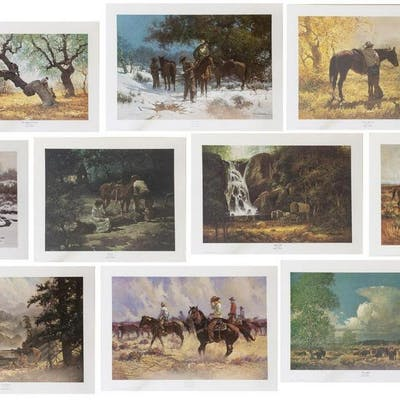 (10) ROBERT SUMMERS (B.1940) SIGNED WESTERN PRINTS