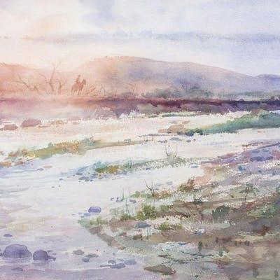 CLAY MCGAUGHY (B.1931) WESTERN SKY WATERCOLOR