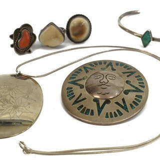 (6) SOUTHWESTERN SILVER JEWELRY, TURQUOISE, TAXCO