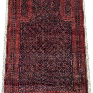 "HAND-TIED PERSIAN BELOUCHI PRAYER RUG, 5'2"" X 3'0"""