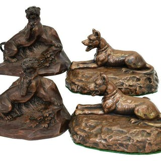 (4) COPPER CLAD & METAL TIGER & DOG BOOKENDS