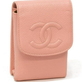 "CHANEL PINK LEATHER ""TIMELESS"" STORAGE CASE"