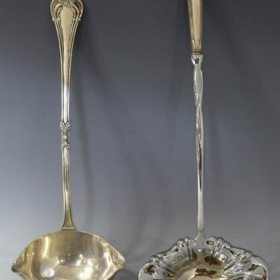 (2) MEXICO STERLING & SILVER PUNCH LADLES