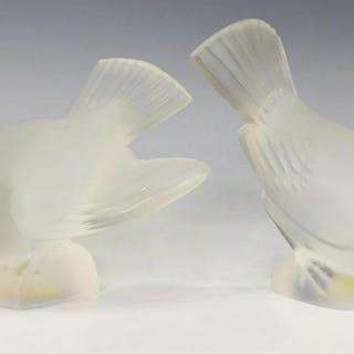 (2) LALIQUE FRANCE FROSTED CRYSTAL BIRD FIGURES