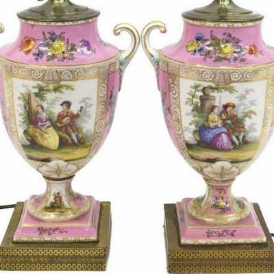 (2) SEVRES STYLE POMPADOUR PORCELAIN TABLE LAMPS
