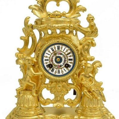 FRENCH LOUIS XV STYLE DORE BRONZE MANTEL CLOCK