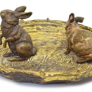 AUSTRIAN COLD PAINTED BRONZE RABBIT GROUP