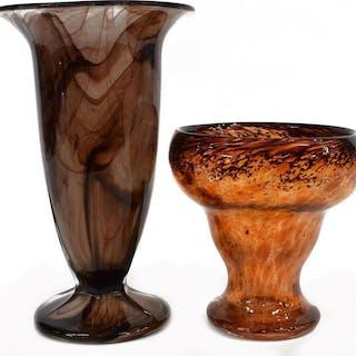 (2) MURANO & OTHER ART GLASS FLOWER VASES