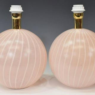 (2) ITALIAN DA VINCI ART GLASS 1-LIGHT TABLE LAMPS