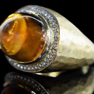 ESTATE 14KT GOLD, DIAMOND & 11CT CITRINE RING