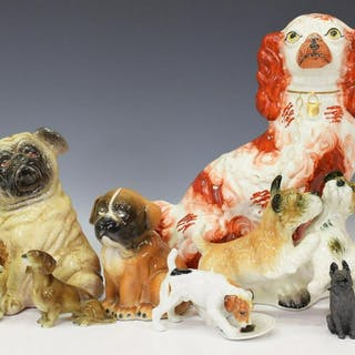 (8) DOG FIGURES, KARL ENS, ROYAL DOULTON, ETC.