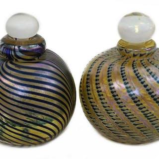 (2) VINTAGE BRIAN MAYTUM ART GLASS PERFUME BOTTLES