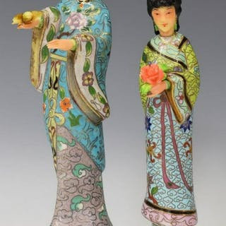 (2) CHINESE CLOISONNE ENAMEL BEAUTY FIGURINES