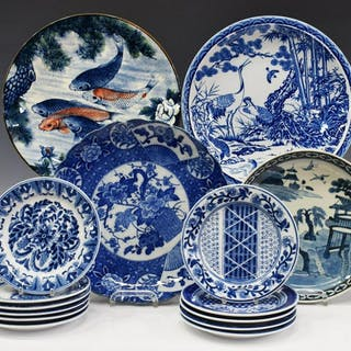 11) COLLECTION ASIAN PORCELAIN CABINET & TABLEWARE