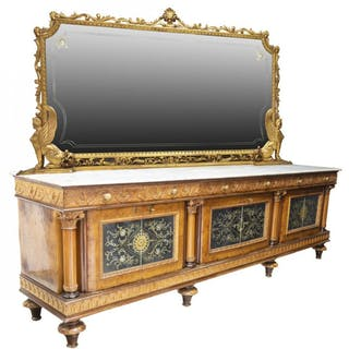 MONUMENTAL EMPIRE STYLE MARBLE-TOP SIDEBOARD