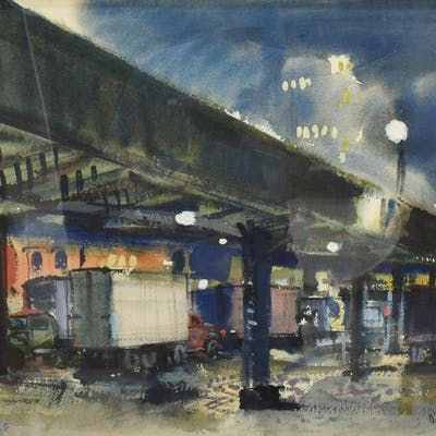 BARSE MILLER (1904-1973) TRUCKS UNDER CITY HIGHWAY