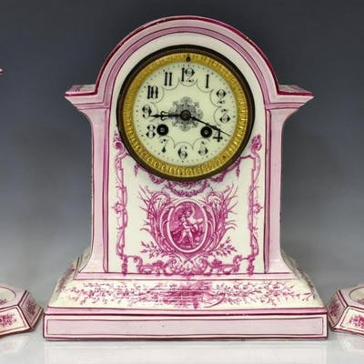 (3) FRENCH GIEN FAIENCE MANTEL CLOCK GARNITURE SET
